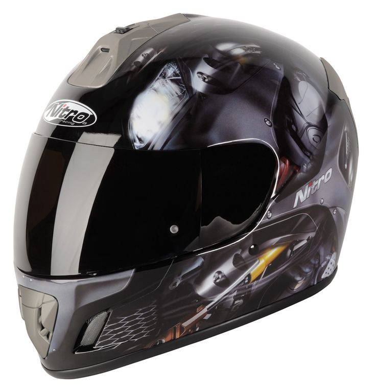 Nitro NGFP Panther Motorcycle Helmet Gloss Black   Free Delivery   Free  Balaclava   Http: