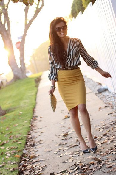 Yellow Pencil Skirt by CarouselsAndLace