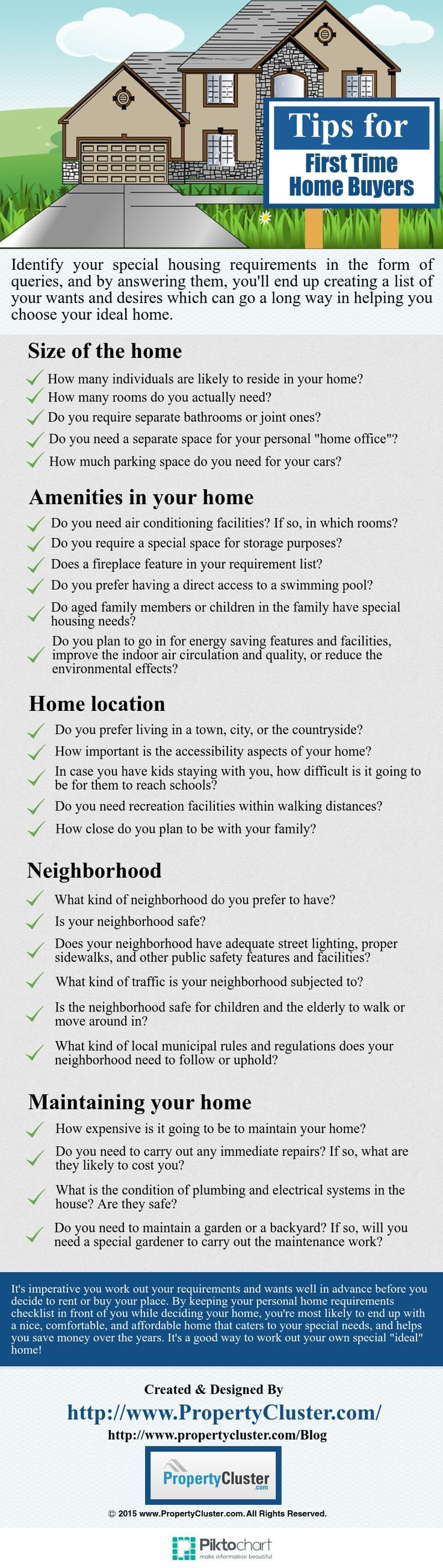 Checklist for first time home buyers #Infographic - Answer these queries which can go a long way in helping you choose your ideal #home Buying a House #homeowner