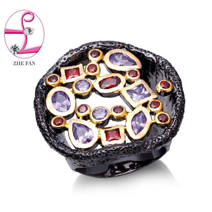 Zhe fan aaa zirconia antieke zwarte goud kleur ringen voor vrouwen Mannen Twee Tone Ring Fashion Party Valentijnsdag Gift Sieraden