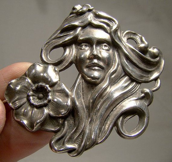 Art Nouveau LADY with POPPY Sterling Silver by FionaKennyAntiques