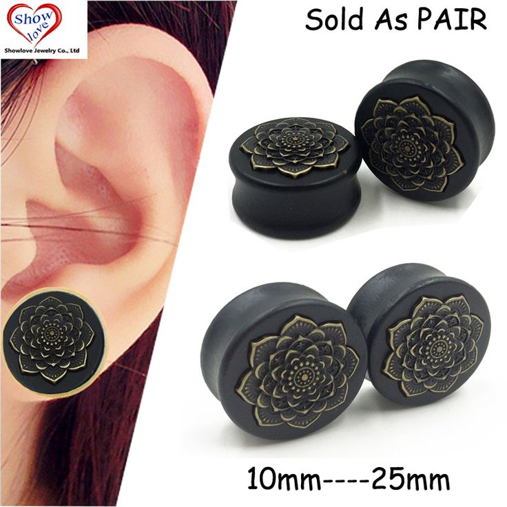 Showlove-PAIR Black Wood Copper Mandala Flower Logo Saddle Plugs Ear Tunnel Plugs Gauge Piercing Expander Stretcher