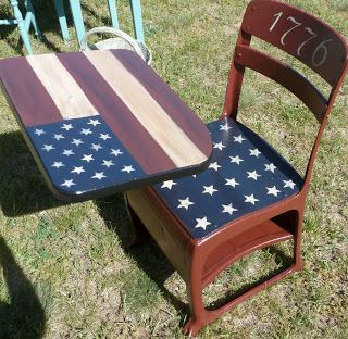 Old school desk painted with an American flag design.