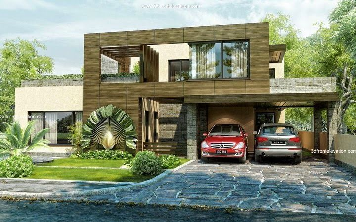 Front Elevation Of Beautiful House : D front elevation beautiful modern style house
