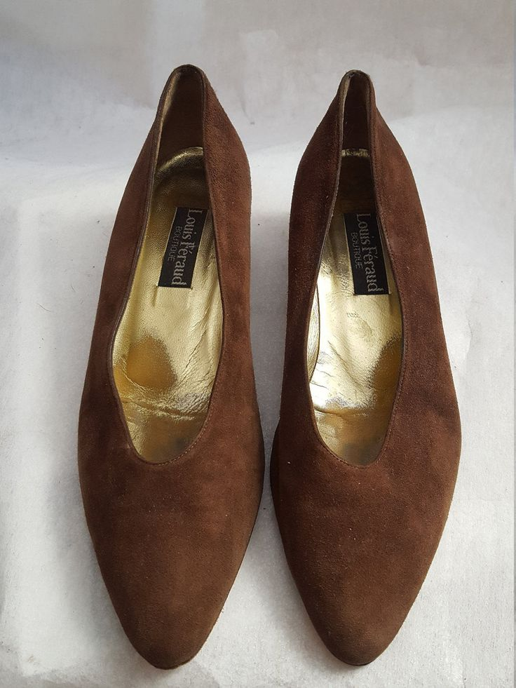 Louis Feraud Boutique Vintage Brown Suede Block Heeled Pumps, Fashion, Shoes, Womens, Gifts, hipster, Chic, Trend Inspired, Heels, Leather