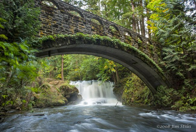 Whatcom Falls Park trails and stone bridge - Bellingham, Washington
