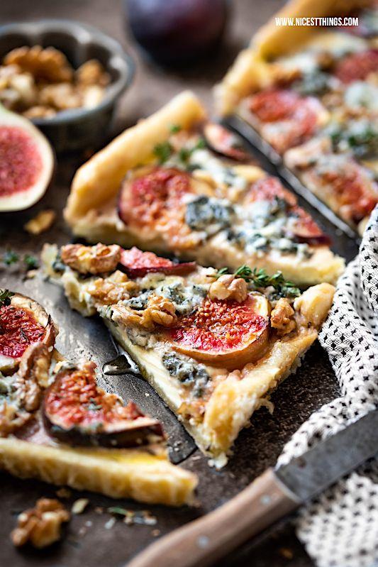 Feigen Tarte Rezept mit Roquefort, Walnüssen, Thymian und Ahornsirup #Küchenaufbewahrung