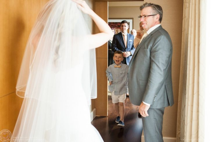 Little nephew and bride's brothers see her for the first time. Berkeley Fieldhouse Wedding, Toronto Wedding Photographer. #sweetheartempirephotography