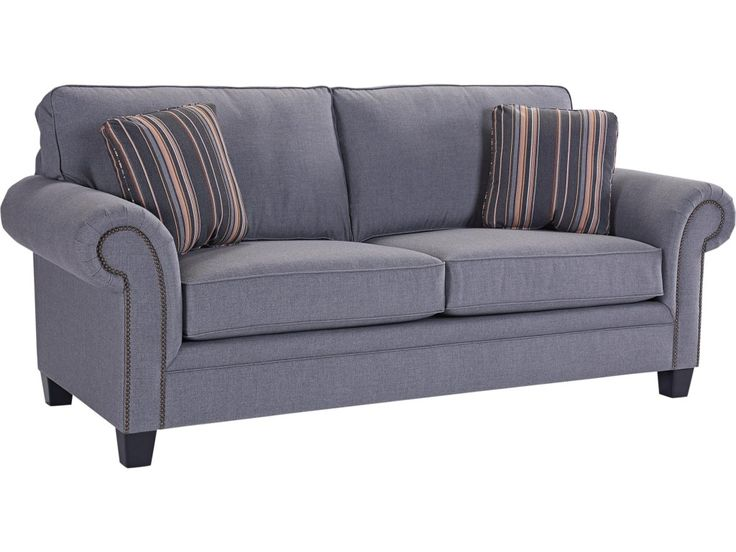 Broyhill Furniture Travis Transitional Sofa with Rolled Arms and Nail Head Trim Accents - Becker Furniture World - Sofas