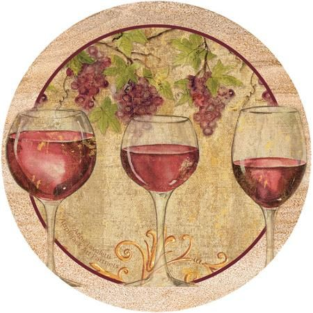 Thirstystone Drink Coasters Set, Wine Harvest II