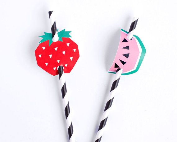 Paper Straws with Mixed Fruit Decorations by ChaosClub on Etsy
