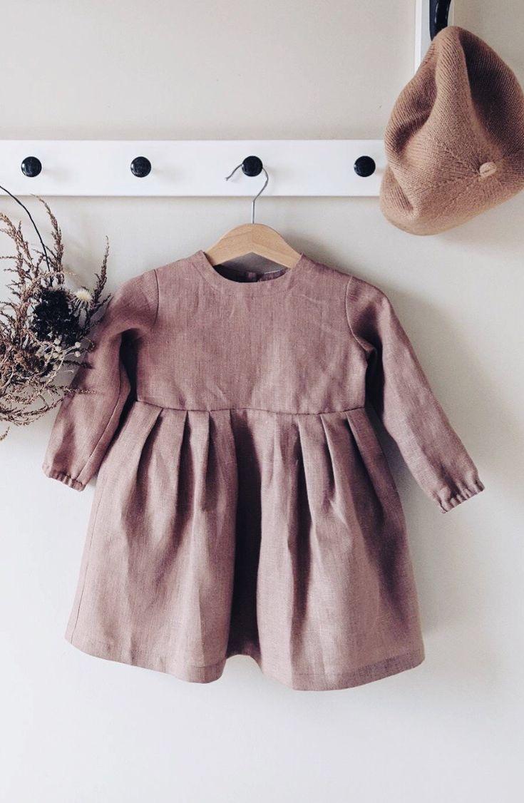 598cf38caa1 Girls Lovely Handmade Linen Fall Winter Dress