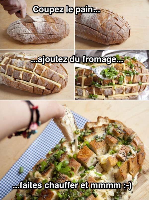 Astuce : Mettre du fromage dans du pain tranché et faire chauffer