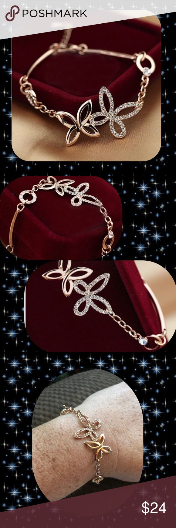 """Rose Gold Crystal Pastoral Butterfly Bracelet 18K Rose Gold Plated (Allergy Free), Clear crystals. Fits sizes 7 1/2""""-8"""". Approx. 16 g Jewelry Bracelets"""