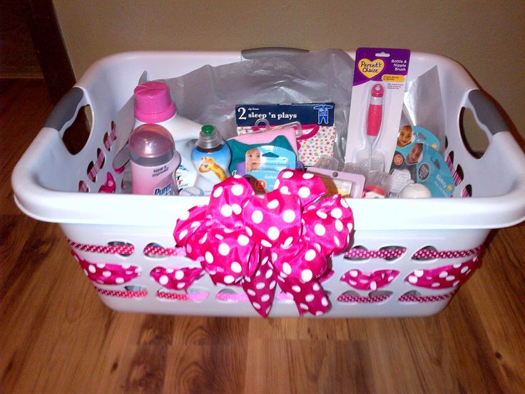 Baby Girl Gift Ideas: Laundry Basket Baby Gifts.