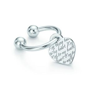 Tiffany Notes heart tag key ring in sterling silver.