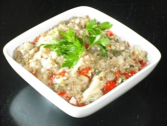 Eggplant Dip (Melitzanosalata) with Walnuts and Mastic - We have previously published the recipe for Eggplant Dip (Melitzanosalata), but this is a delicious variation with walnuts, red peppers and mastic. A wonderful accompaniment for your meal!