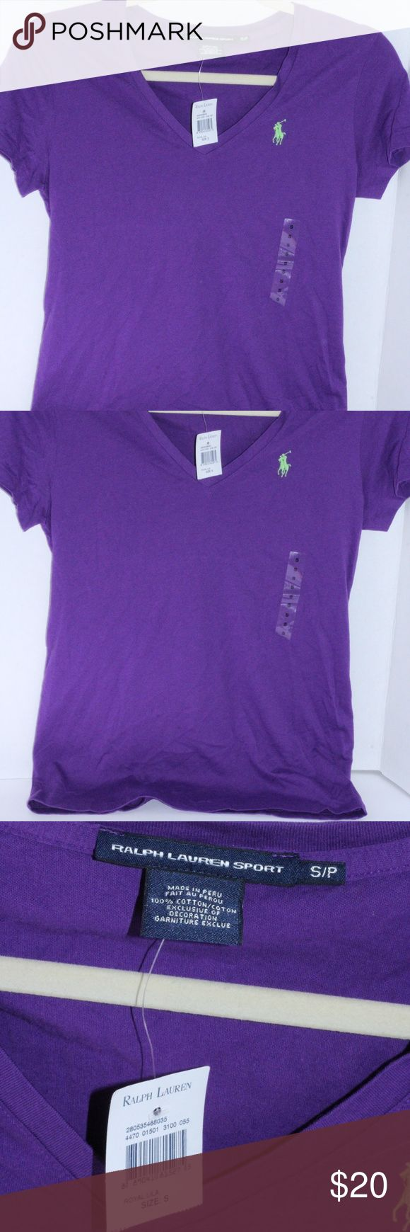 """NWT Polo Ralph Lauren T-Shirt Size S NWT Polo Ralph Lauren Short Sleeve T-Shirt. Size S. Color Purple with lime green logo. 100%Cotton.  Approx 16"""" from armpit to armpit Approx 24"""" from shoulder to hem. Polo by Ralph Lauren Tops Tees - Short Sleeve"""