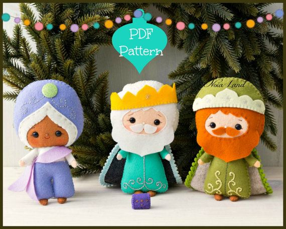 PDF Pattern. Three Wise Men. Three kings: Melchior, Caspar and Balthasar. Christmas Nativity set.
