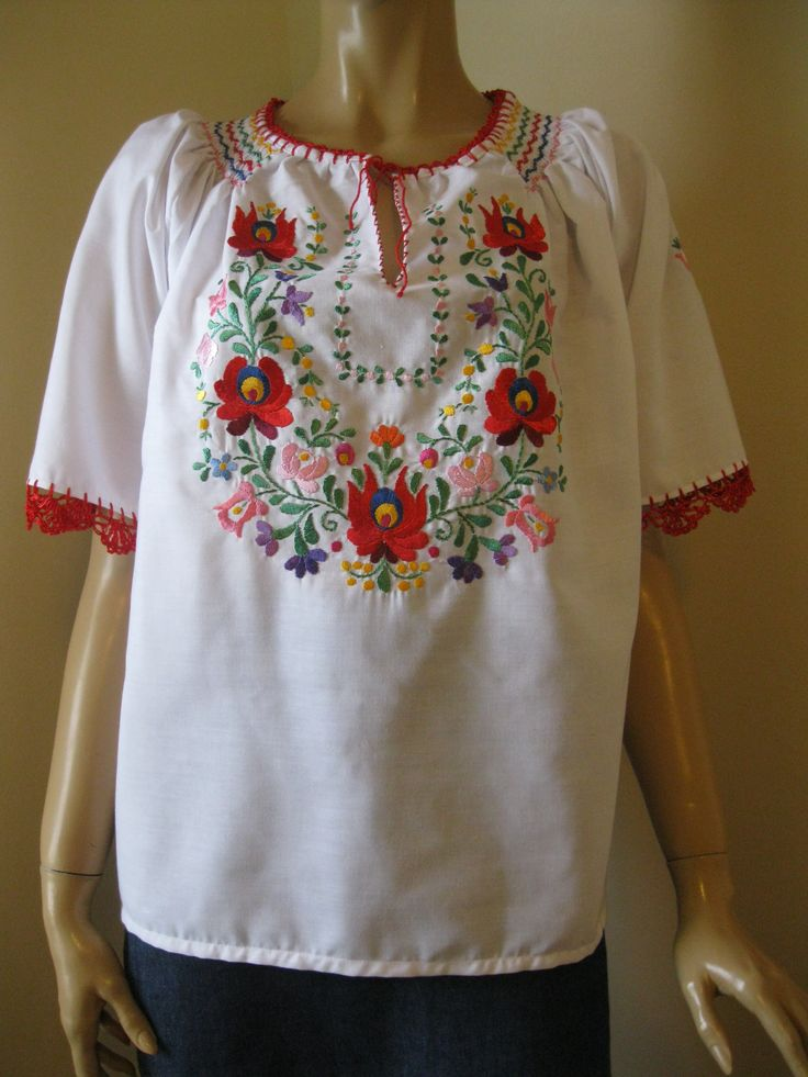 Hand embroidered Hungarian Matyo blouse, size XL - XXL, BRZ - GreatBlouses.com