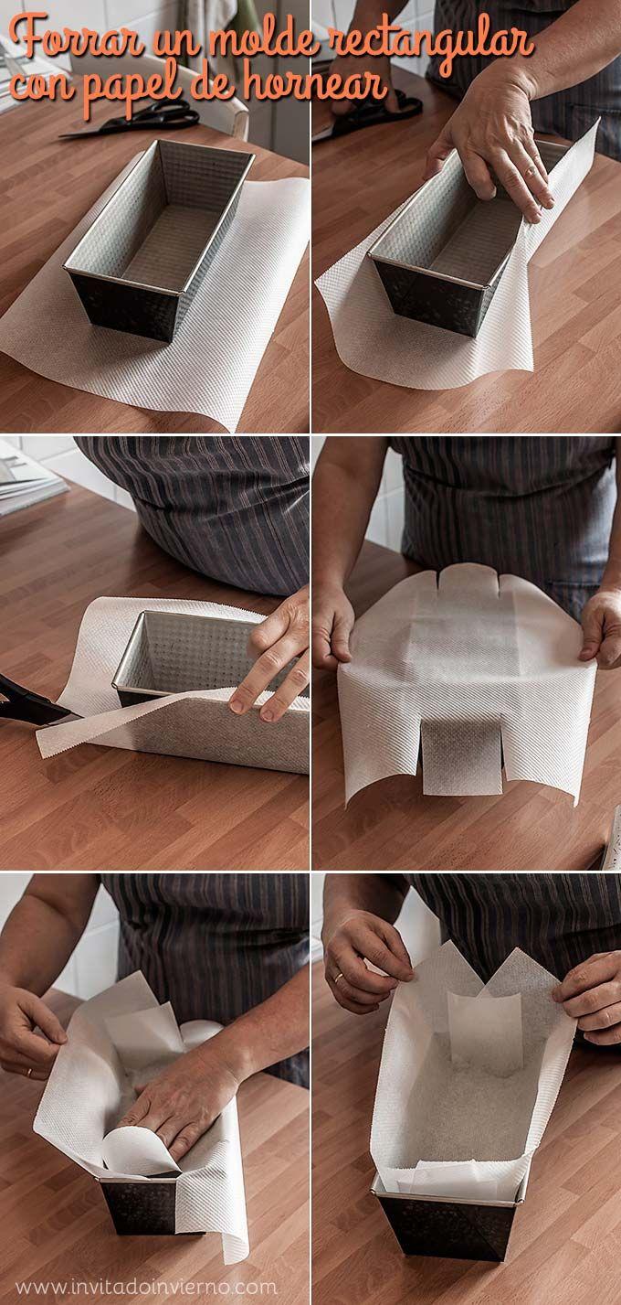 Cómo forrar con papel un molde rectangular / how to line a cake pan with parchment paper