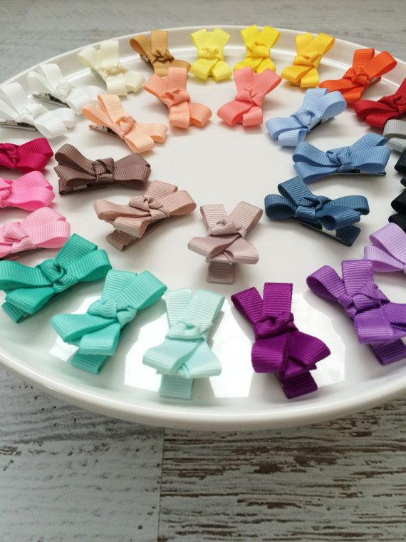 Mini Hair Bows  Ribbon Hair Clips  Gift for by MiniMayDesigns