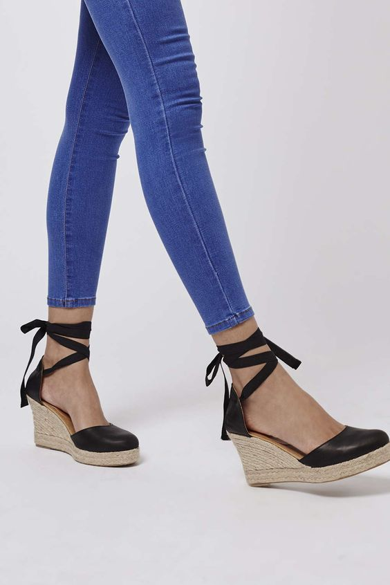 Warmth Tie Wedges Black Leather Espadrille Lace Up 85