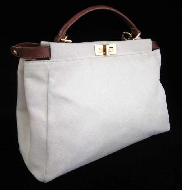 NEW FENDI Cream Canvas Brown Leather Trim Handle Peekaboo Tote Handbag at www.ShopLindasStuff.com