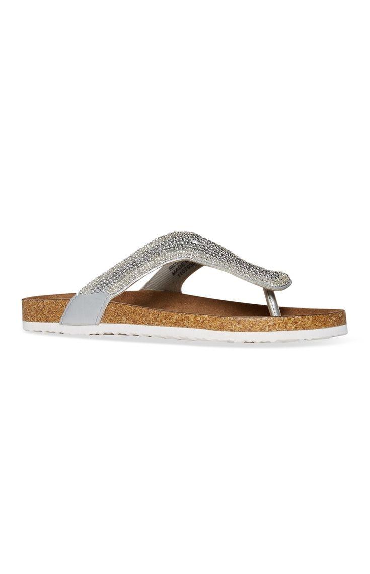 Embellished Silver Sandal