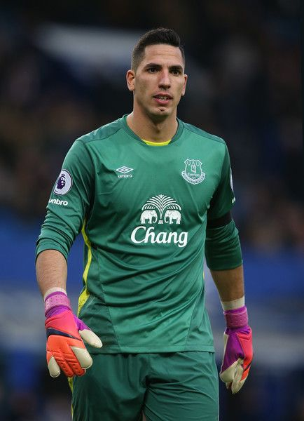 Goalkeeper Joel Robles of Everton looks on during the Premier League match between Everton and Manchester City at Goodison Park on January 15, 2017 in Liverpool, England.