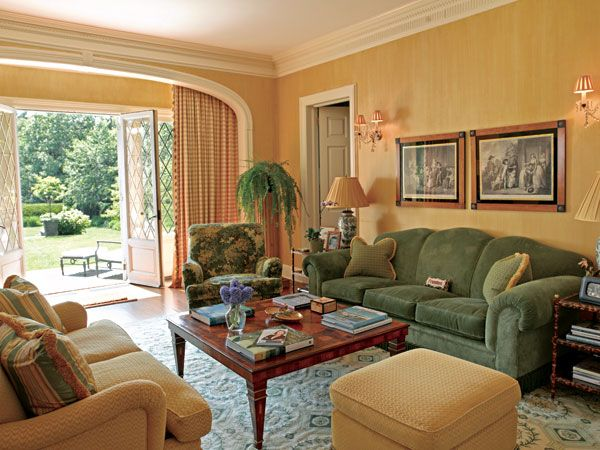 Turquiose Yellow And Beige Living Room