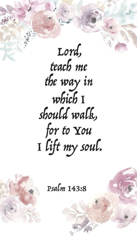 Lord, teach me the way in which I should walk, for to you I lift my soul. - Psalm 143:8