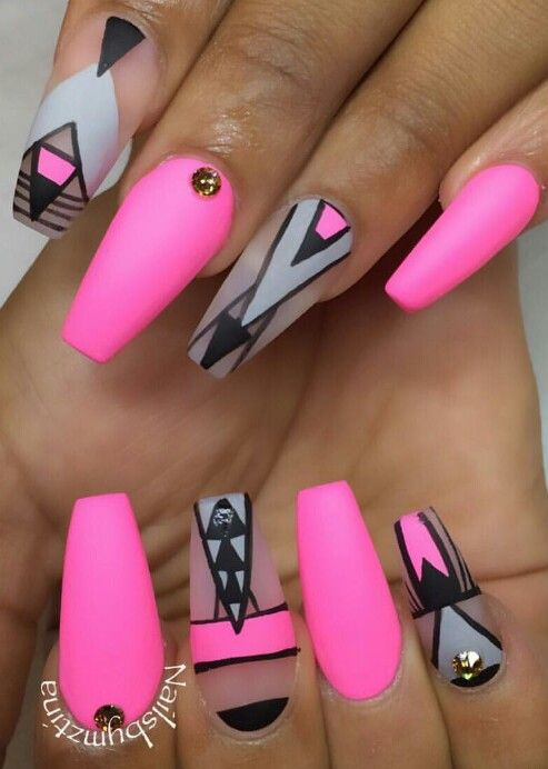 Neon pink matte nails design