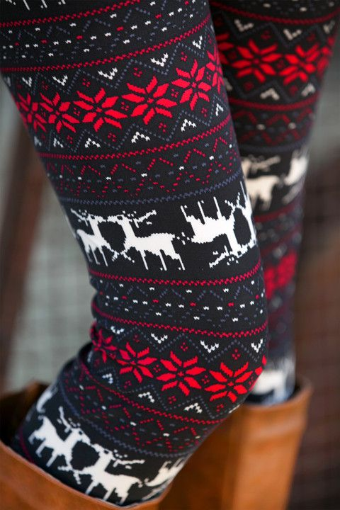 Flower Reindeer Leggings - Regular and Extended Sizes!