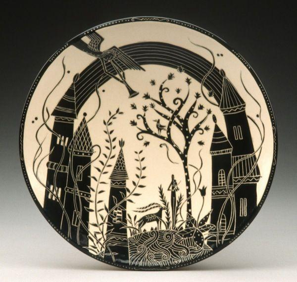 "Reiko Miyagi - Studio Tabula Rassa, Blissful Village Platter, White stoneware, 11"" Diameter"