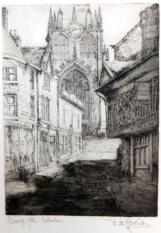 Bridgegate by Sheffield artist William Rawson 1922