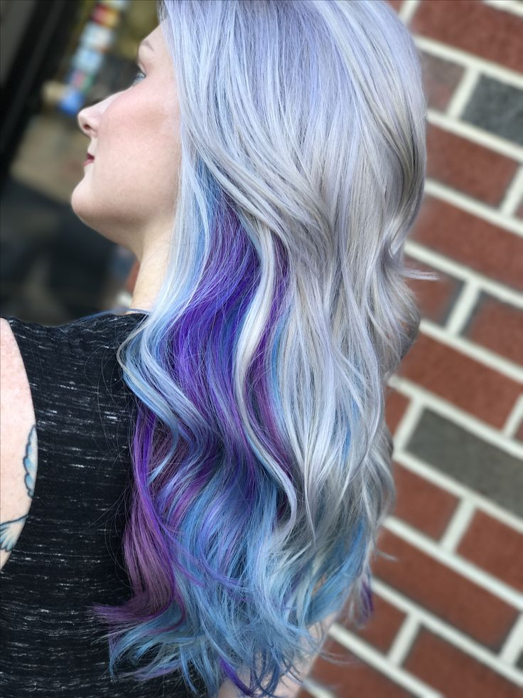 Silver purple blue hair  Silver •Guytang 5 min toner  Purple •Joico color intensity orchid and lilac & clear. Blue •Joico color intensity Sky.