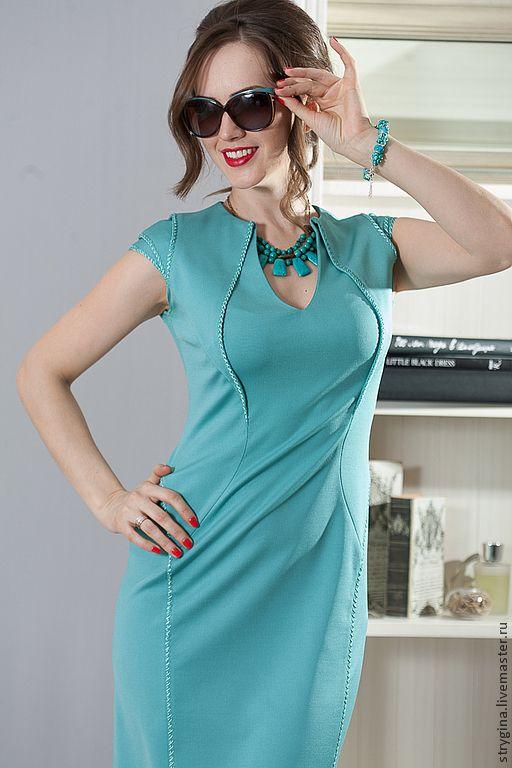 Купить Платье Fiore di perle - бирюзовый, платье, платье с вышивкой, платье для офиса