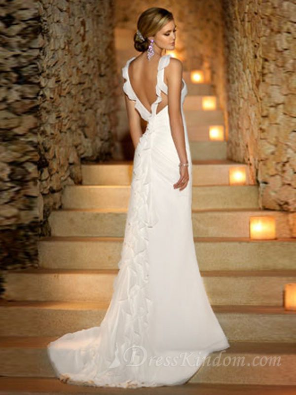Brilliant Sheath / Column Straps Floor-length Beading Chiffon Beach Wedding Dres
