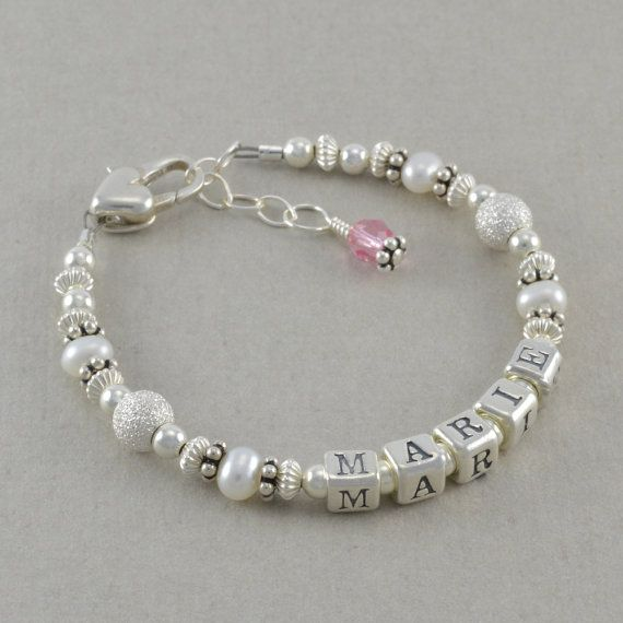 The 25 best baby girl personalized ideas on pinterest h boy baby girl bracelets sterling silver keepsake baptism gifts baby shower gift negle Choice Image