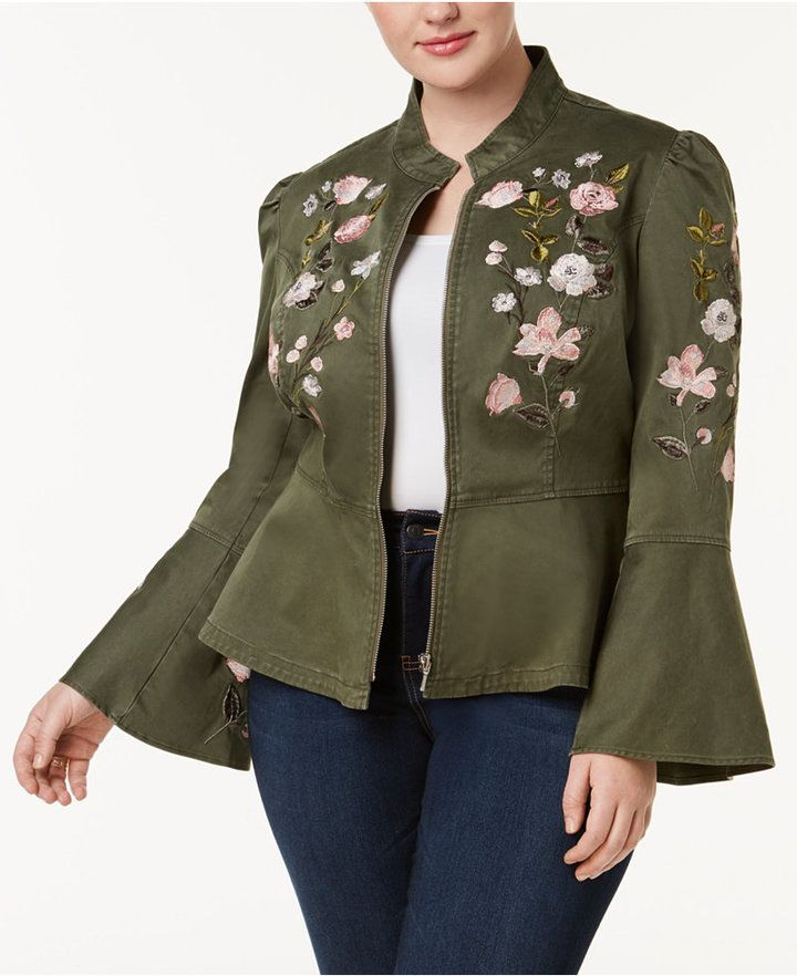 ff390b3428c INC International Concepts Plus Size Embroidered Peplum Military-Inspired  Jacket