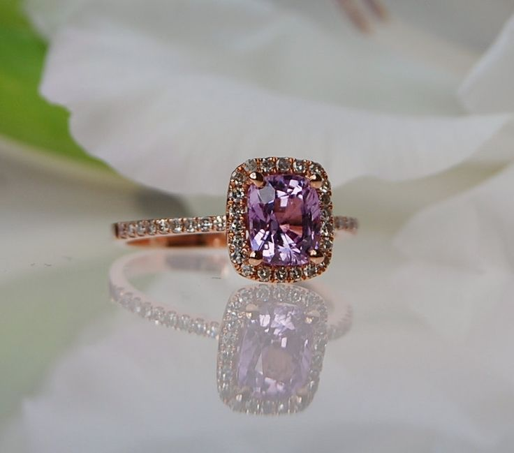 1.4ct  Lavender Peach Cushion color change Sapphire ring 14k rose gold ring diamond ring  Engagement Ring peach lavender. $1,600.00, via Etsy.