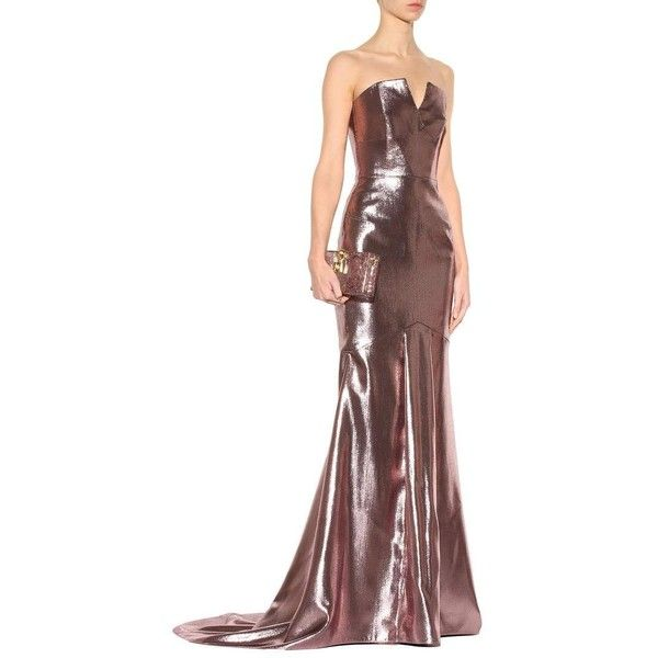 Roland Mouret Brenner Metallic Silk-Blend Gown ($4,025) ❤ liked on Polyvore featuring dresses, gowns, roland mouret, white gown, metallic evening gowns, white evening gowns and white dress
