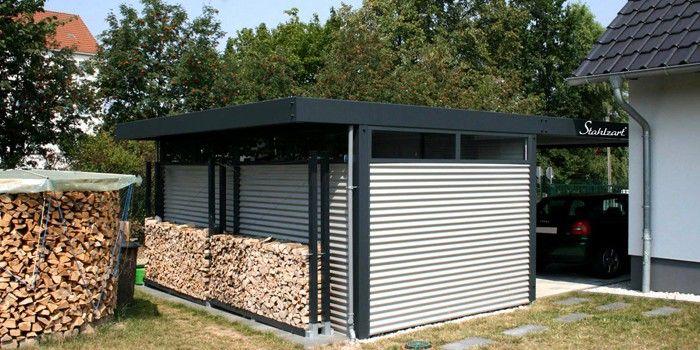 Doppel Carport Mit Gerateraum Metall Stahl Anthrazit Holz Stahlzart Carport Metall Stahlcarport Carport Stahl