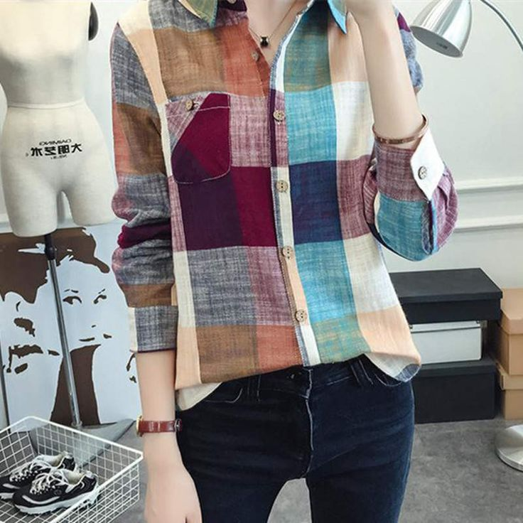 Gender: Women Decoration: Button Clothing Length: Regular Sleeve Style: Regular Pattern Type: Plaid Style: Fashion Fabric Type: Broadcloth Material: Cotton,Linen Collar: Turn-down Collar Sleeve Length