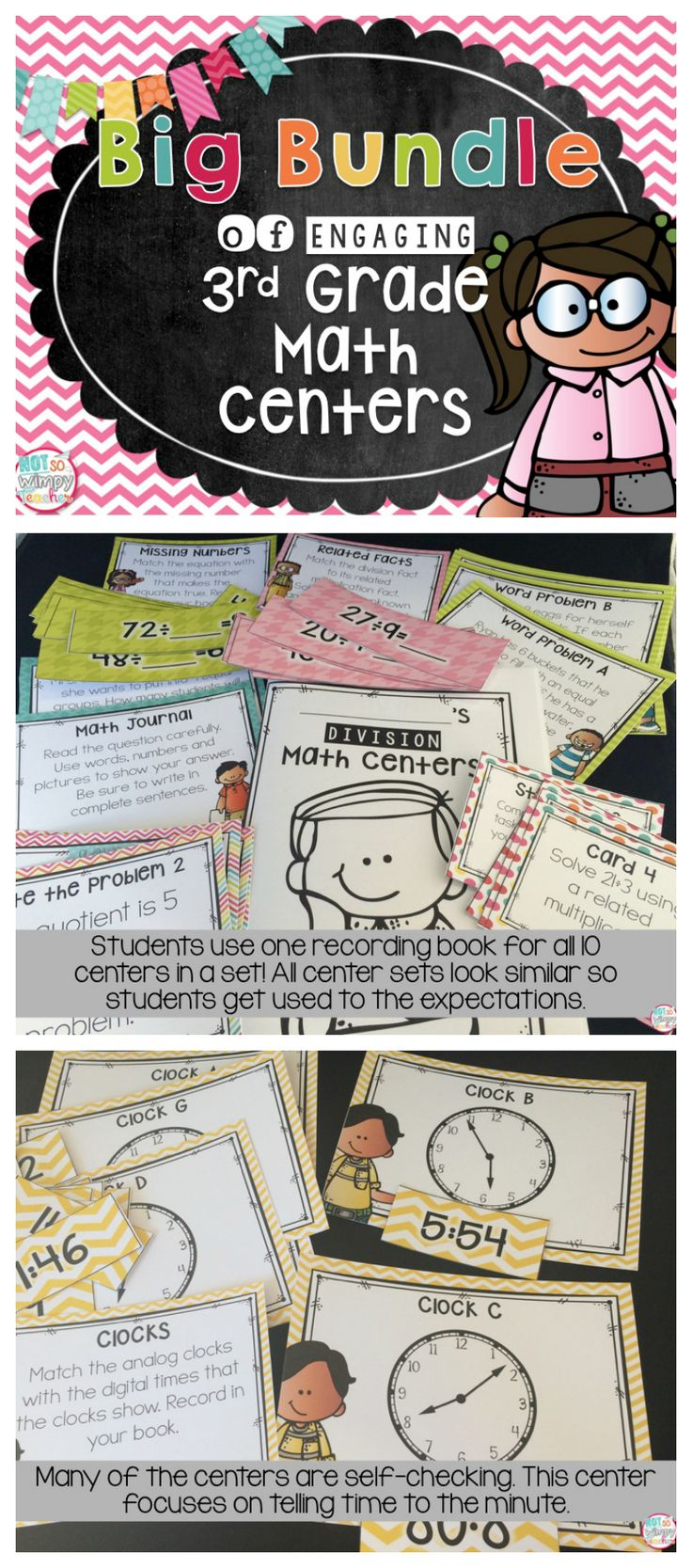 This bundle includes hands-on and engaging math centers for the entire year! Each center has the same format, so students will learn the expectations and procedures and then be able to complete centers for the entire year without many new directions.  The centers are engaging and include sorts, task cards, math writing, matching, etc. Each set of centers has a recording book that students use for all 10 centers in that unit.