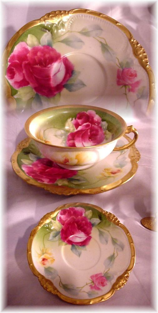 ANTIQUE CORONET LIMOGES FRANCE BREAKFAST TEA CUP AND SAUCER HAND PAINTED ROSES #Limoges