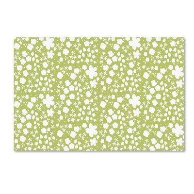 "Trademark Art 'June Blooms Mini Floral Green' Graphic Art Print on Wrapped Canvas Size: 12"" H x 19"" W"