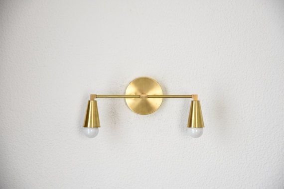 Free Shipping! Wall Sconce Vanity Gold Brass 2 Bulb Cone Covers Round Base Modern Downward Abstract Mid Century Art Light Bathroom UL Listed