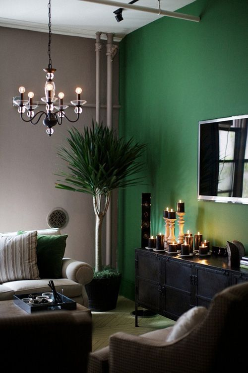 Paint Color Portfolio Emerald Green Living Rooms Accent Wall In The Room